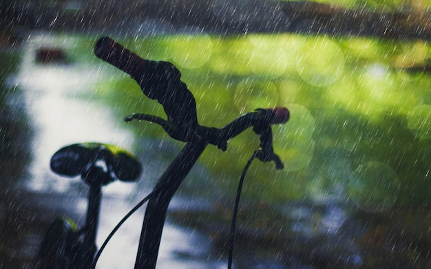 Silhouette bicycle on rainy day with bokeh nature and wet road. falling rain sad concept. Premium Photo