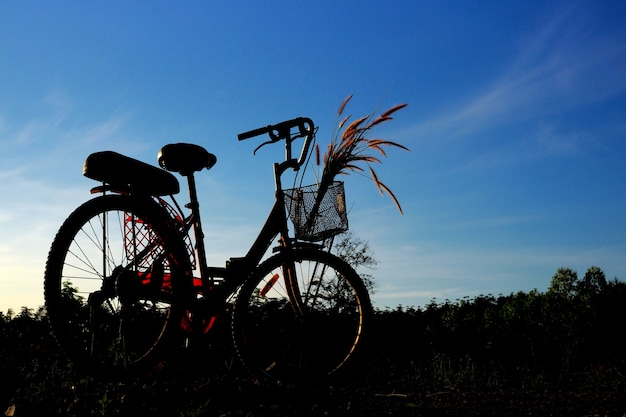 Silhouette of bicycle with blue sky Premium Photo