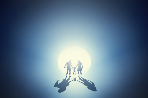Silhouette of a family having fun together Free Photo