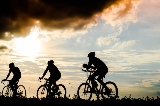 Silhouette group of men ride bicycles at sunset Premium Photo