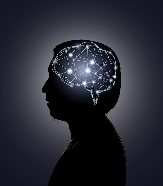 Silhouette of human head with technology line of the brain Premium Photo
