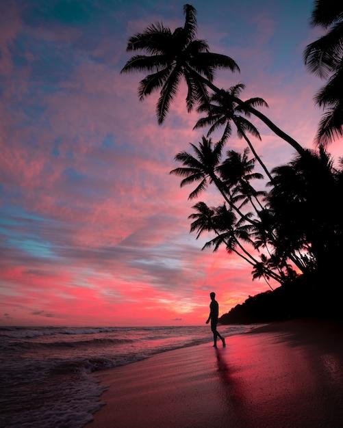 Sagoma di un maschio sulla spiaggia durante il tramonto con incredibili nuvole nel cielo rosa Foto Gratuite