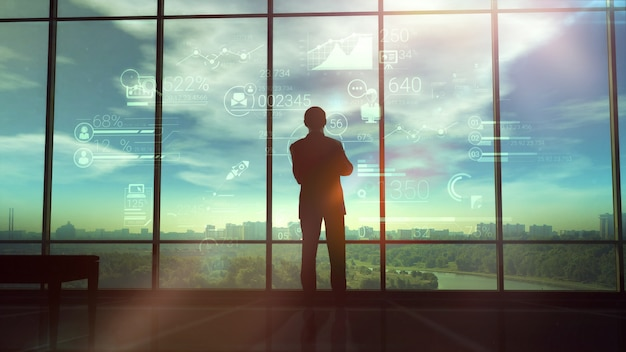 Silhouette of man and corporate infographics Premium Photo