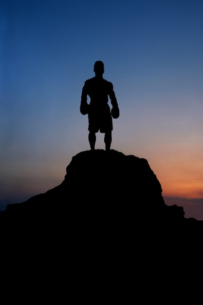 Silhouette of a muscular male boxer standing on rock Premium Photo