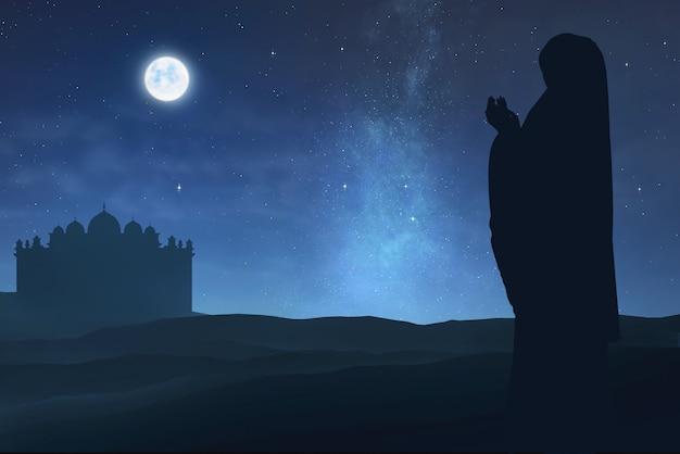 Silhouette of muslim woman raising hand and praying Premium Photo