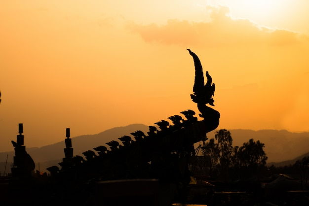 Silhouette of naka head or serpent in buddhist Premium Photo