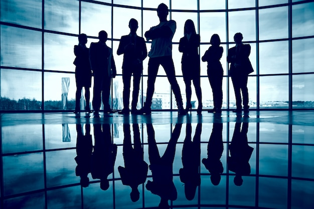 Silhouette of confident businesspeople Free Photo
