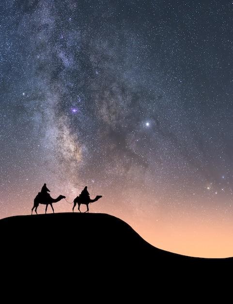 Силуэт всадников на верблюдах в пустыне ночью Premium Фотографии