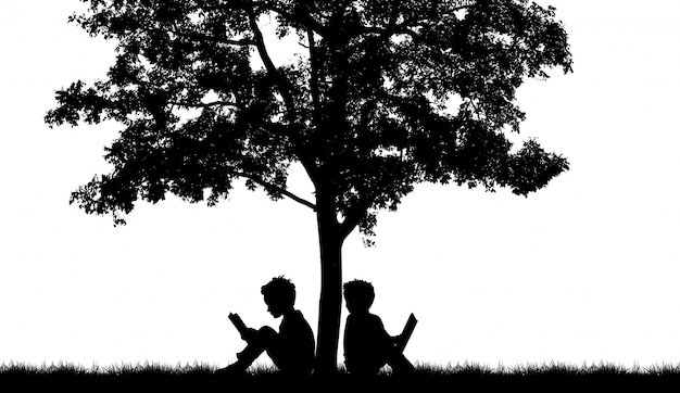 Silhouette of two people on a tree Free Photo