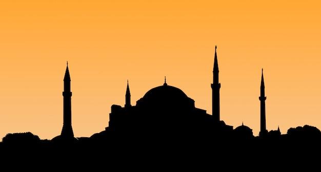 Silhouette of the old town - hagia sophia in setting sun in istanbul turkey. Premium Photo