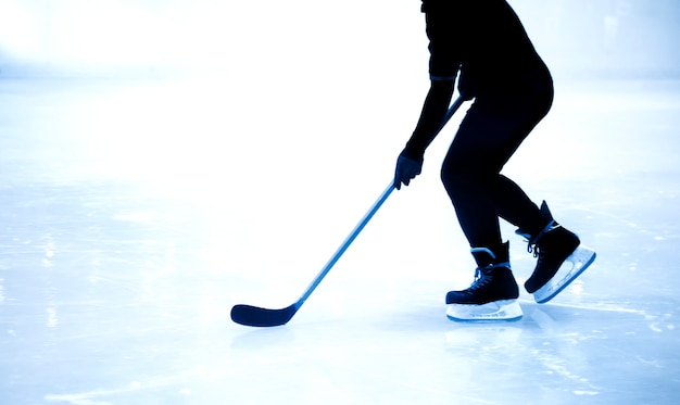 Silhouette Shot Ice Hockey Game In Winter Season Game Photo
