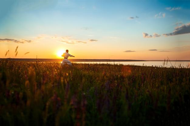 Siluetta di karatè allegro di addestramento dell'uomo nel campo ad alba. Foto Gratuite