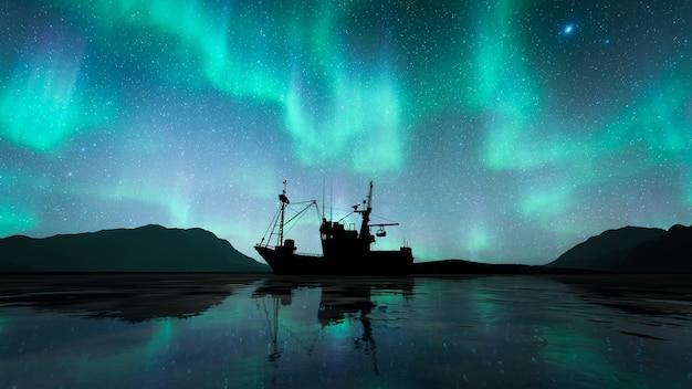 オーロラとシルエットの船 Premium写真