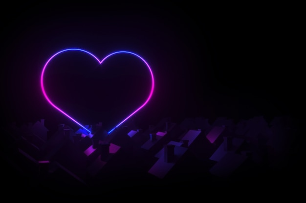 Silhouettes of small village houses with pitched roofs illuminated silhouette neon heart 3d illustration Premium Photo