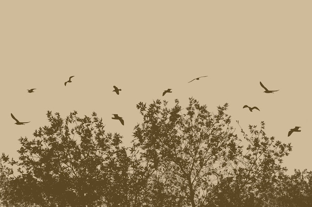 Silhouettes of tree and branches with flying birds on a beige background Free Photo