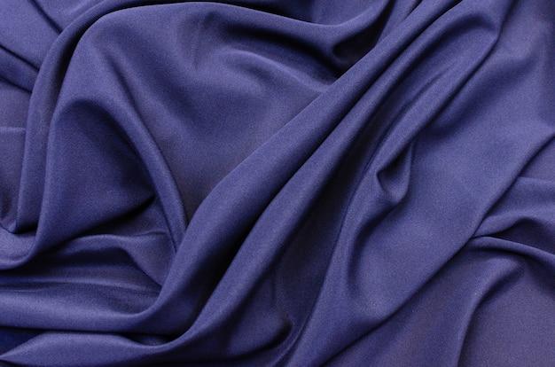 Silk fabric crepe de chine stretch in dark blue color Premium Photo