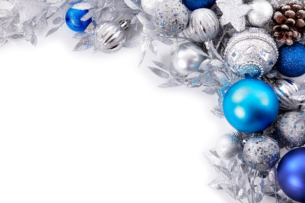 silver and blue christmas balls Free Photo