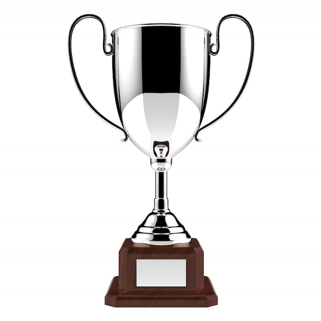 Silver award trophy isolated on white with clipping path Premium Photo
