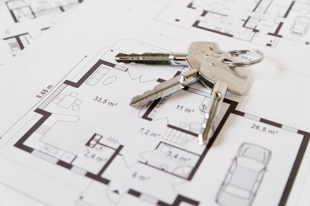 Silver hose keys on a background of architectural drawing Free Photo