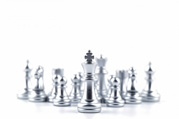 Silver king in chess game with concept for company strategy. Premium Photo