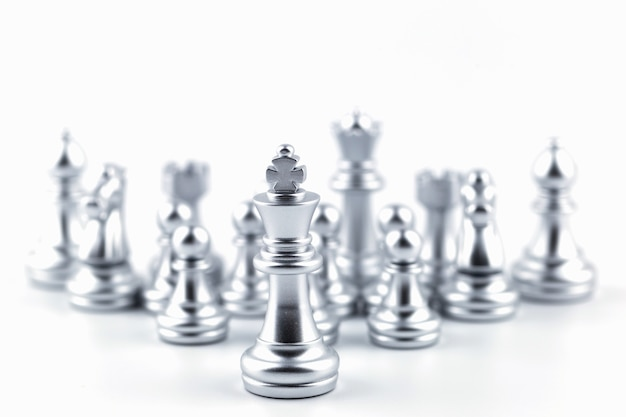 Silver king in chess game with concept. Premium Photo
