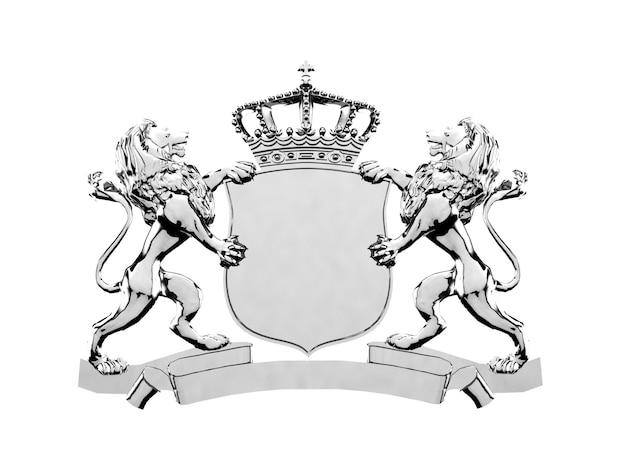 Silver lion crest logo ornament, 3d rendering. coat of arms Premium Photo
