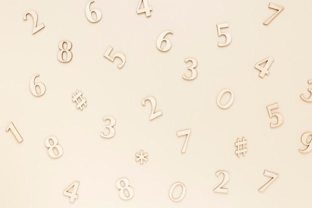 シルバーの数学番号トップビュー Premium写真
