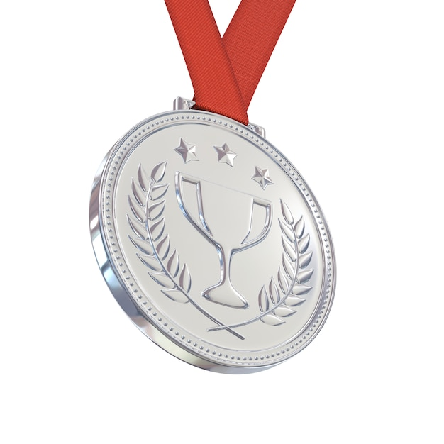 Silver medal on red ribbon, isolated on white background Premium Photo