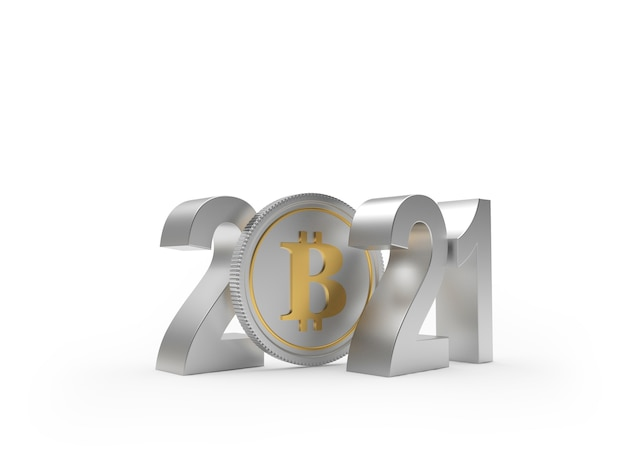Silver numbers 2021 with bitcoin coin Premium Photo