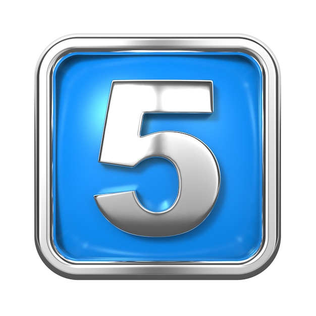 Silver numbers in frame, on blue background. number 5 Premium Photo