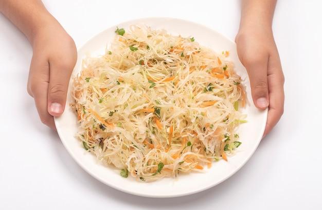 Silver salad on white Premium Photo