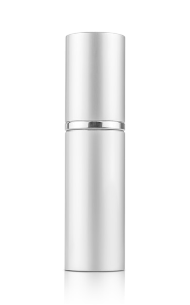 Silver spray tube for cosmetic product design mock-up Premium Photo