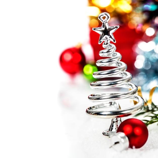 Silver stylized christmas tree Premium Photo