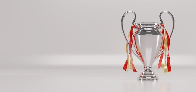 Silver trophy cup on white background. Premium Photo
