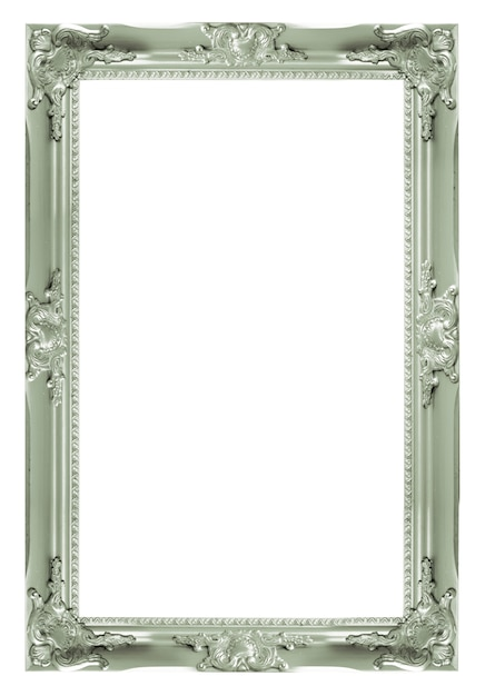 Silver vintage picture and photo frame isolated on white background. Premium Photo
