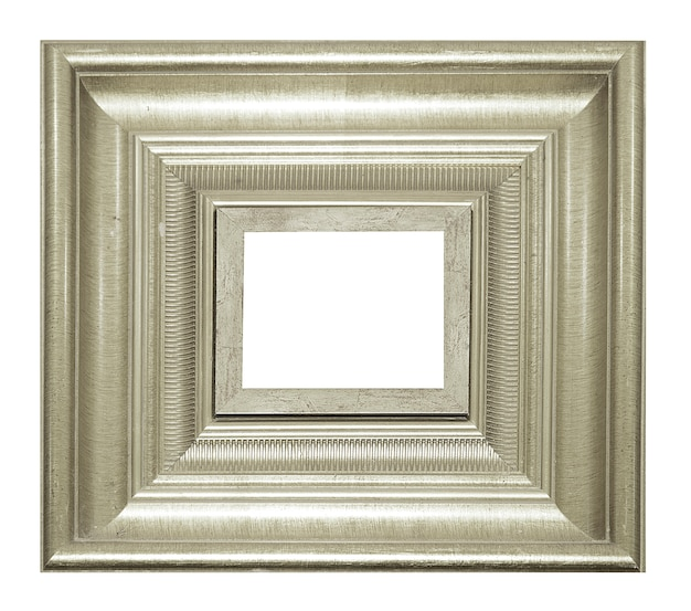 Silver vintage picture and photo frame isolated on white background Premium Photo