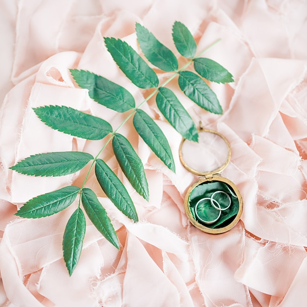 Silver wedding rings lie on the pink cloth among green leaves Photo ...