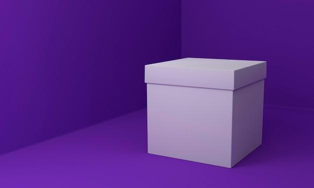 Semplice scatola di cartone su sfondo viola Foto Gratuite
