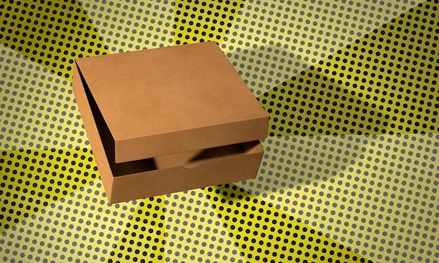 コミックの背景にシンプルなピザの段ボール箱 無料写真