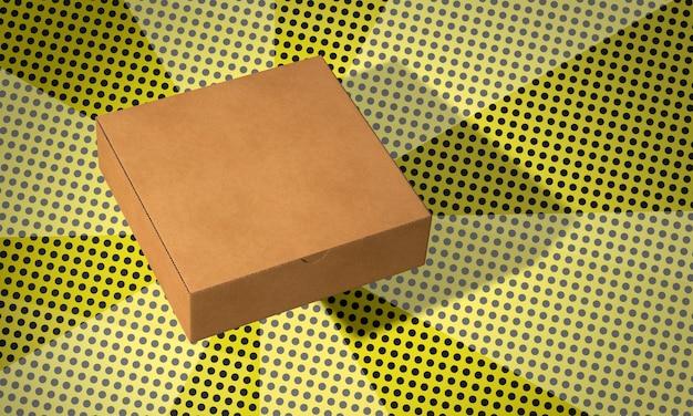 Simple square cardboard box in comics background Free Photo