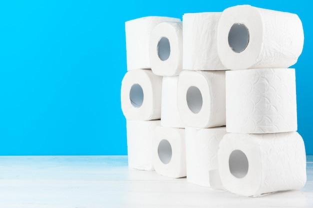 Simple toilet paper, close up side view Premium Photo