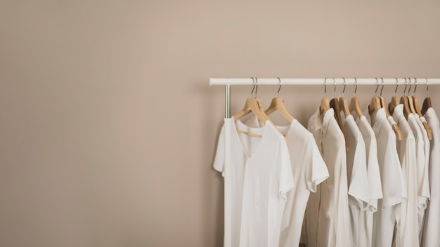 Simple wardrobe with white t-shirts copy space Free Photo