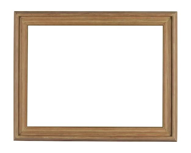 白い背景で隔離のライトの下のシンプルな木製フレーム 無料写真