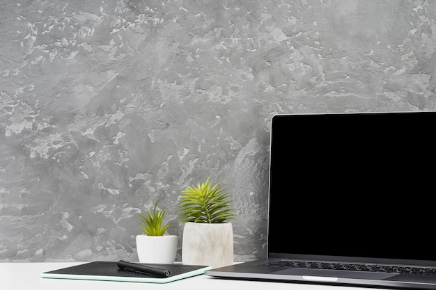Simplistic workspace with home plants Free Photo