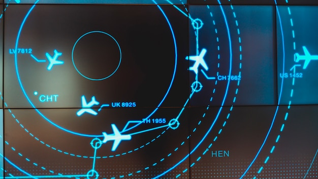 Simulation screen showing various flights for transportation and passengers. Premium Photo