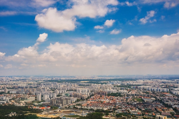 The singapore city with blue sky background Premium Photo