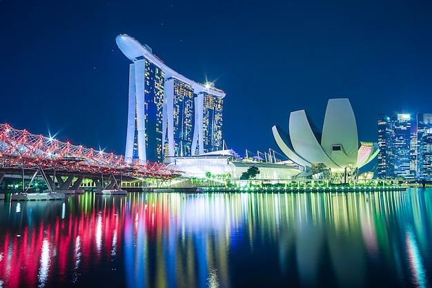 Singapore cityscape at night Premium Photo