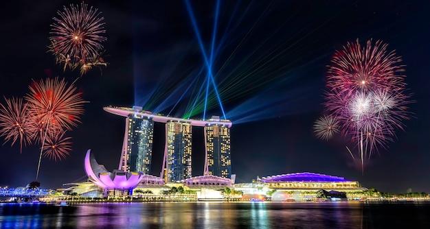 Singapore national day, beautiful fireworks in marina bay Premium Photo