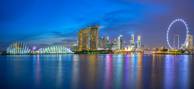 Singapore skyline with landmark buildings at night Premium Photo