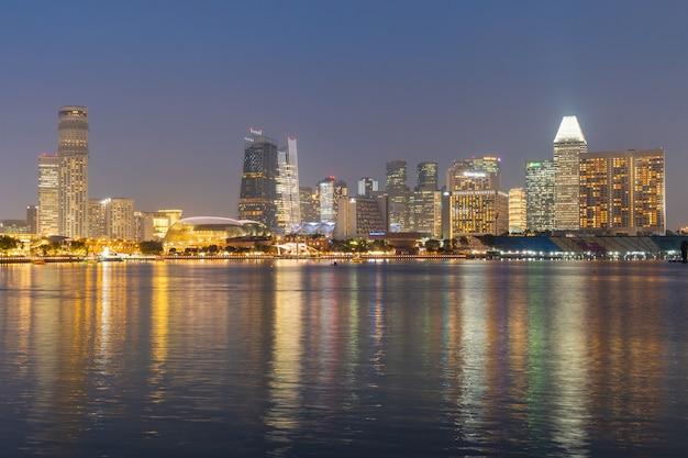 Singapore tall buildings at night Premium Photo
